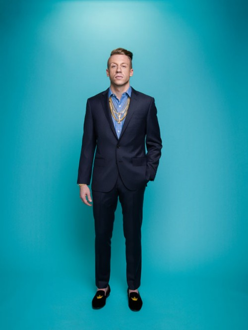 Macklemore in a suit by photographer John Keatley.