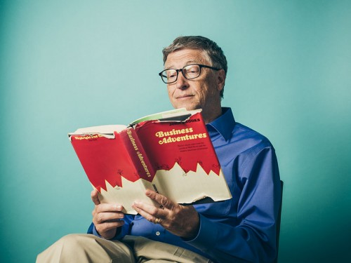Portrait of Bill Gates with Business Adventures. By photographer John Keatley.